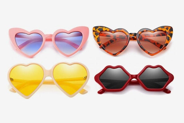 Party Heart Sunglasses Funky Kissing Lip Style Vintage Love Shaped Fashion Glasses