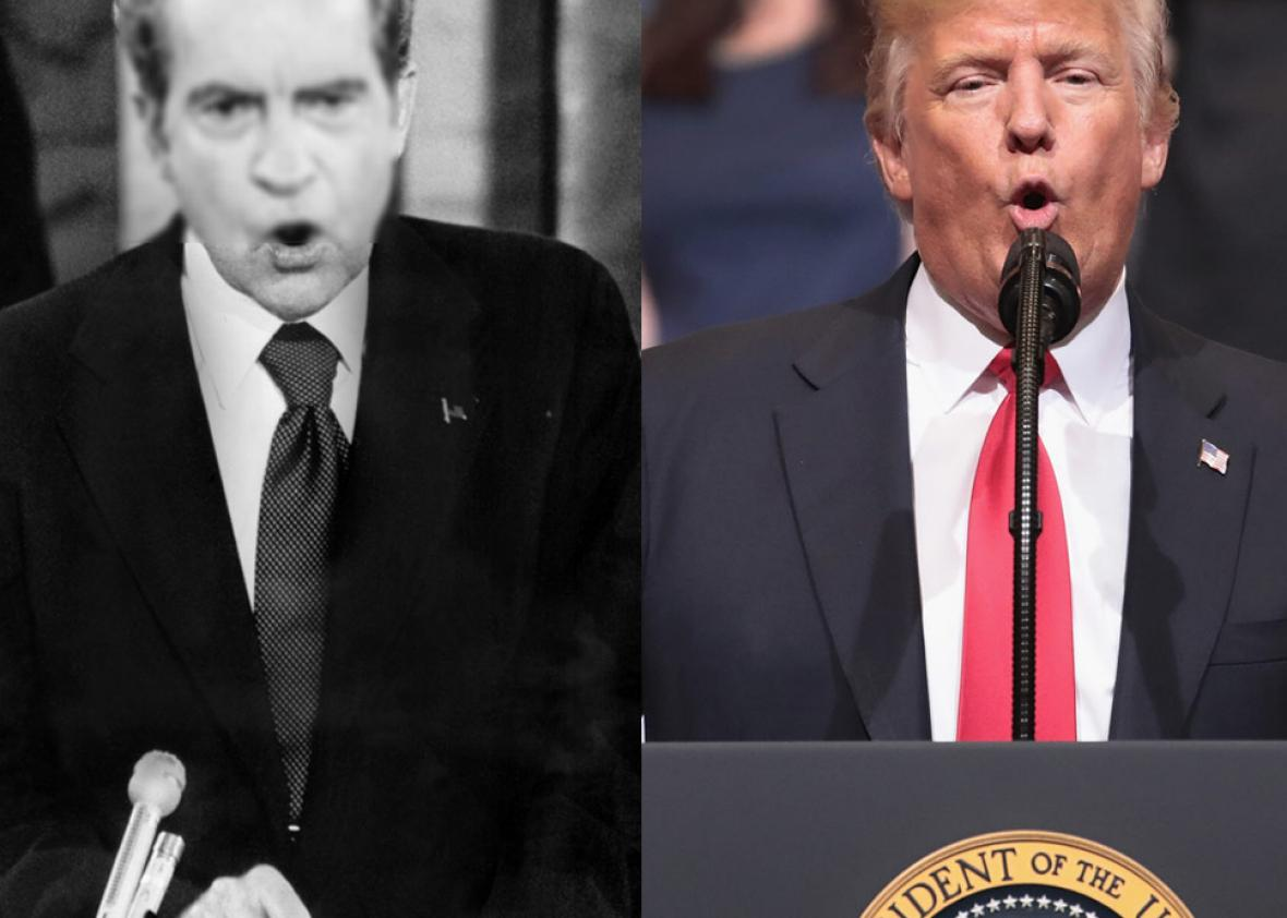 President Richard Nixon in 1973 and President Donald Trump in 2017