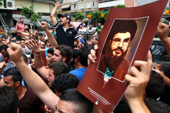 Pro Hezbollah rally, suburbs of Beirut.