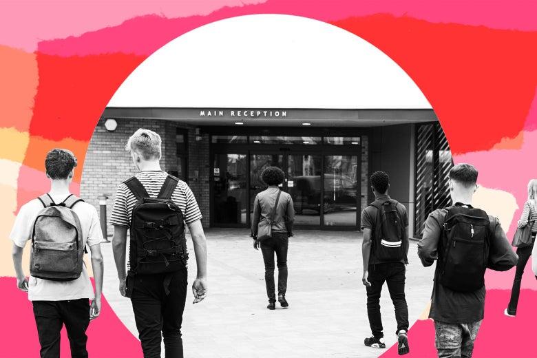 Teen students walking toward an entrance of a school.