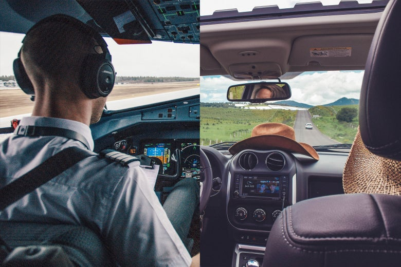 Side-by-side photos of a flight deck and a vehicle dashboard.