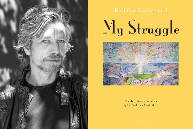 Side-by-side photos of Karl Ove Knausgaard and his book My Struggle Book 6