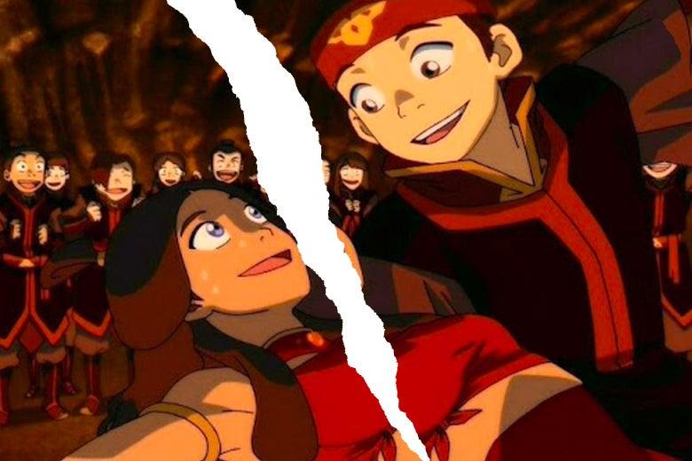 Aang dips Katara in a dance.