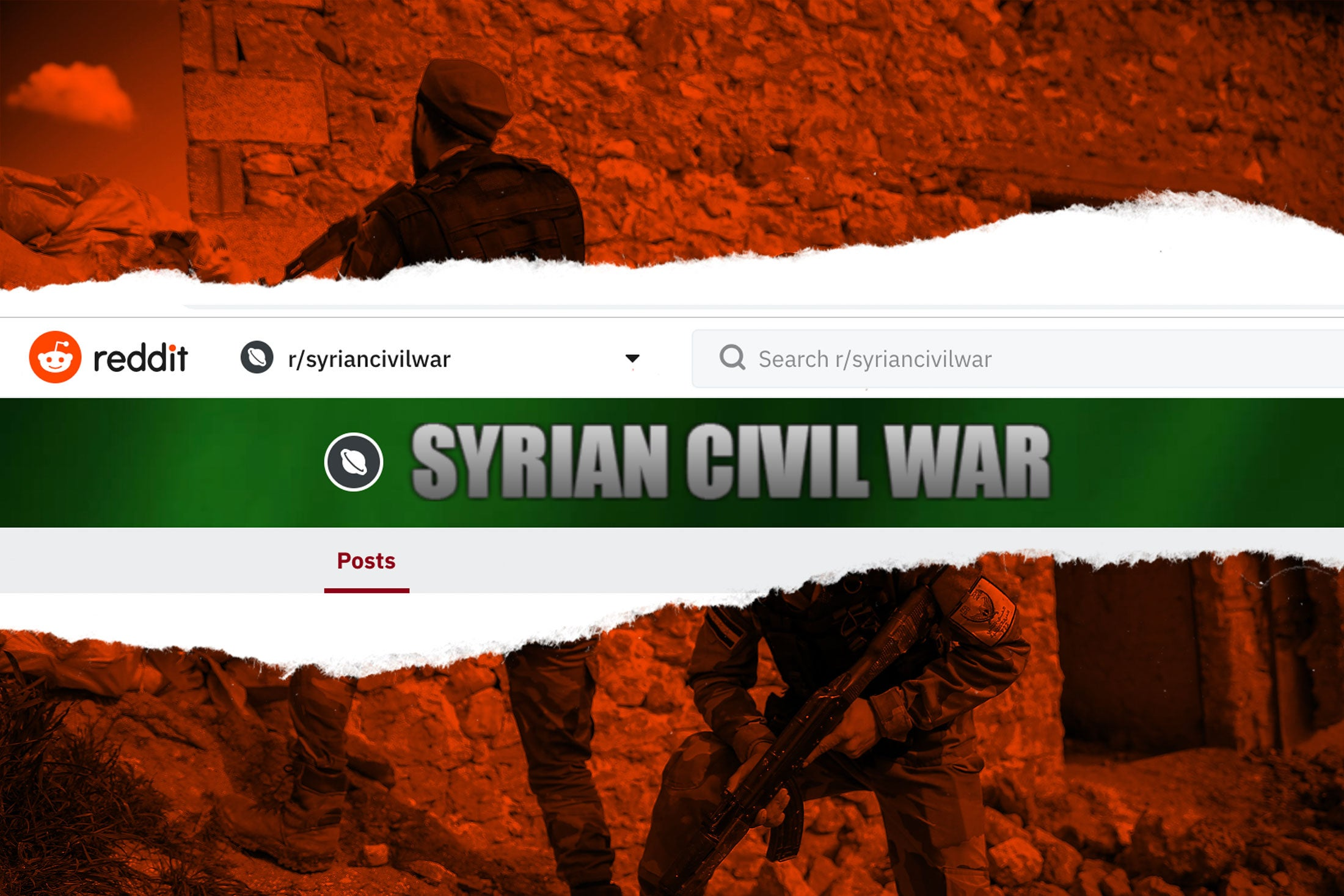 A screenshot of the r/syriancivilwar header over an image of Syrian fighters.