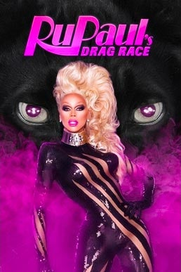 RuPaul wears a fluffy blonde wig and stands in a purple mist. In the background, two purple, beastlike eyes.