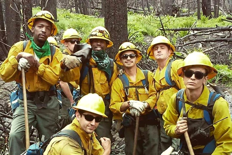 A group of firefighters in a forest
