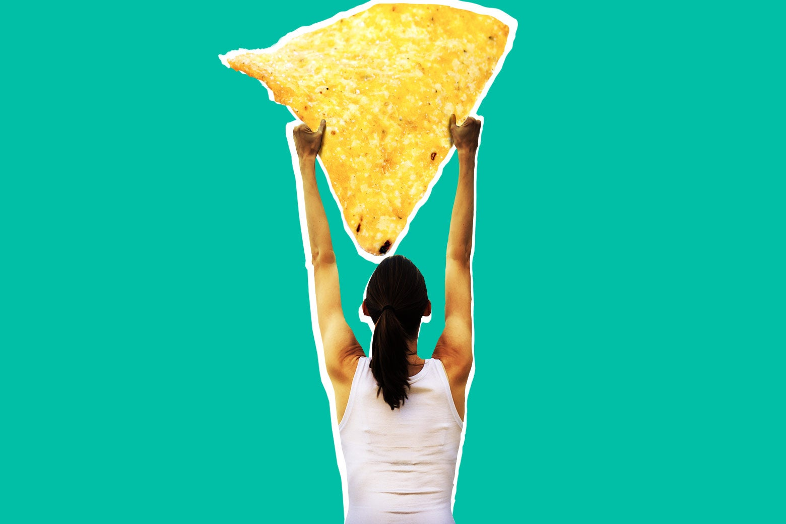 Photo illustration: A woman holds up a giant Dorito. Photo illustration by Slate. Photos by Thinkstock.