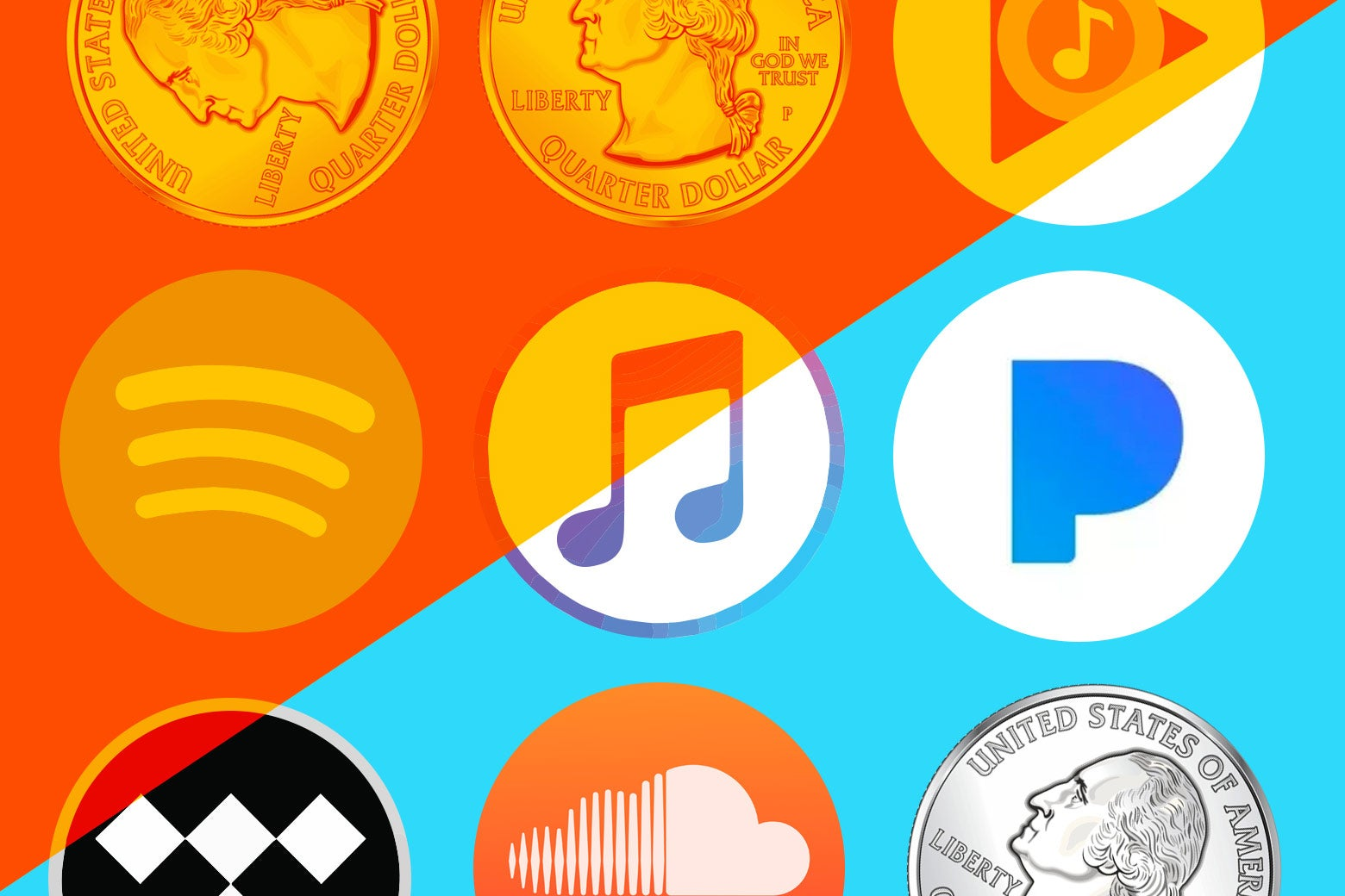 Photo illustration: The logos for various streaming services, including Spotify and SoundCloud, and quarters, with the background stylized in the If Then color scheme.