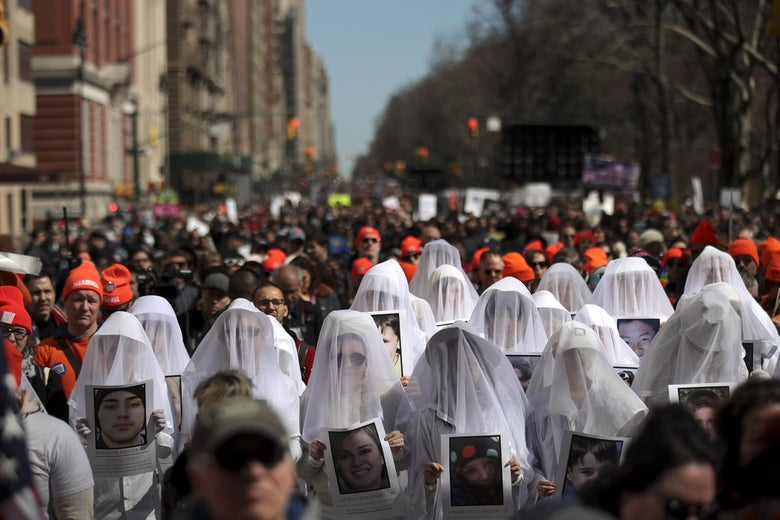 Protesters attend the March For Our Lives just north of Columbus Circle, March 24, 2018 in New York City.