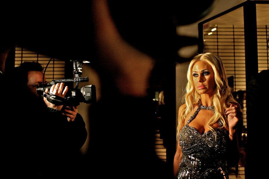 Paparazzi photograph Shauna Sand as she comes out of Villa, a popular club in Los Angeles, Nov. 14, 2008. Jessica Dimmock/VII.