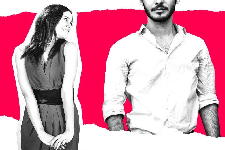 A woman looking flirtatiously toward a man.
