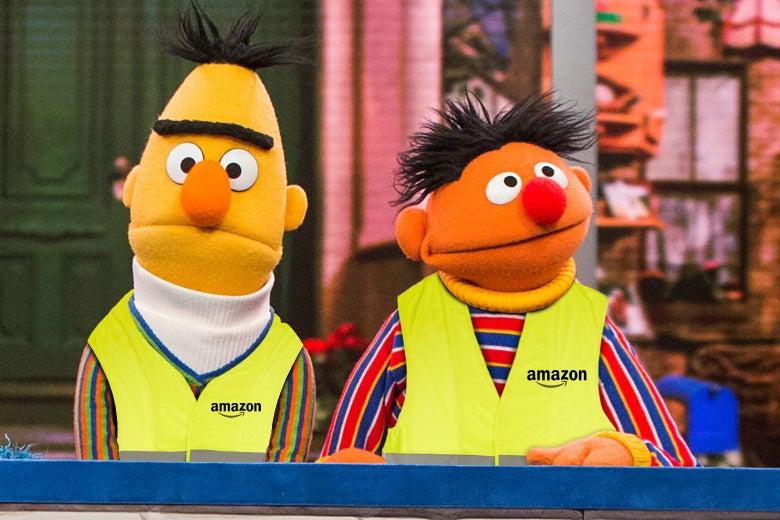 Bert and Ernie in Amazon hi-viz vests.