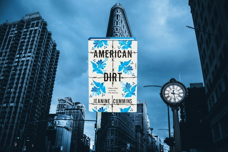 A picture of the Flatiron Building and the cover of the novel American Dirt