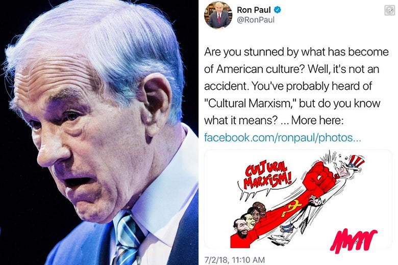 Ron Paul's face side by side with a tweet about cultural Marxism that's accompanied by a cartoon featuring racist caricatures of black, Jewish, and Latino men's faces.