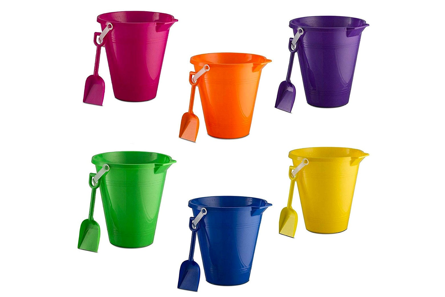 Colorful, plastic beach pails.