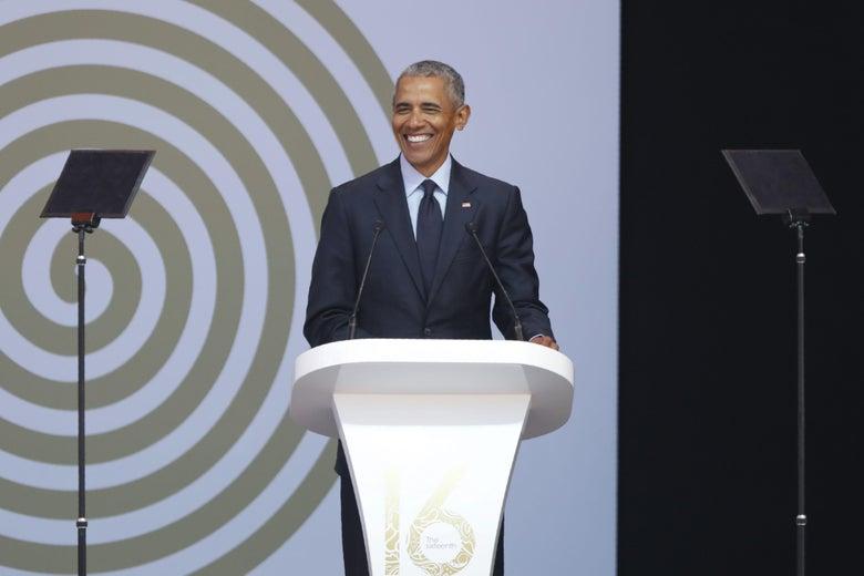 Former US President Barack Obama speaks during the 2018 Nelson Mandela Annual Lecture.
