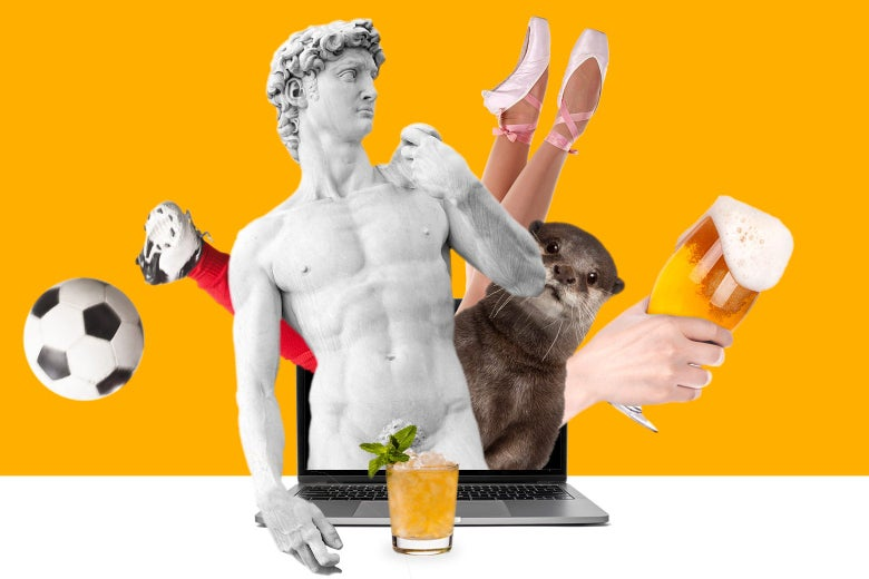 A soccer player, a statue, an otter, a ballet dancer, a hand proffering a beer, and a cocktail emerge from a laptop.