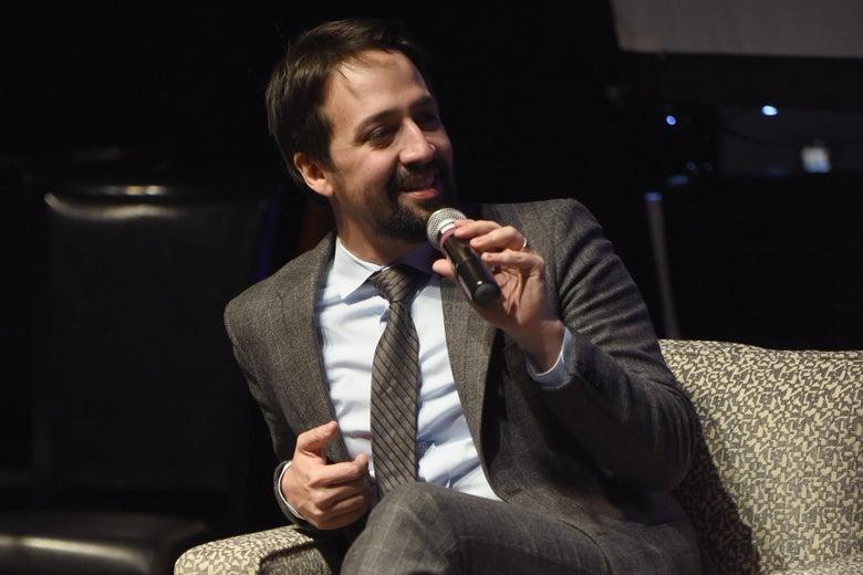 Lin-Manuel Miranda speaking onstage.