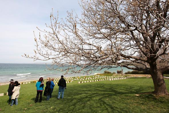 Descendants of Australian war veterans visit Australian soldier cemetary at Anzac Cove
