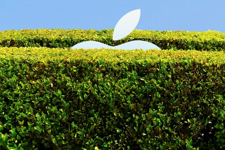 An Apple logo peering from behind a tall hedge—a walled garden.