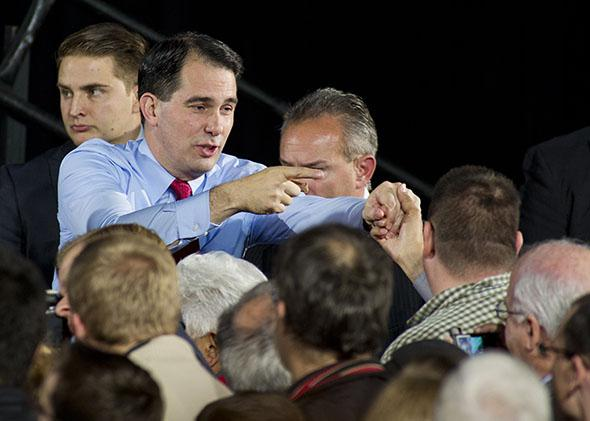 Wisconsin Gov. Scott Walker greets supporters at his election night victory party on Nov. 4, 2014, in West Allis, Wisconsin.