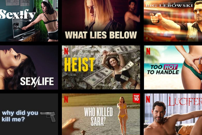 Thumbnails for Netflix shows and movies, including Sexify, What Lies Below, Heist, and Who Killed Sara?