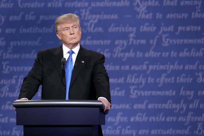 Donald Trump at a debate with Hillary Clinton during the 2016 election
