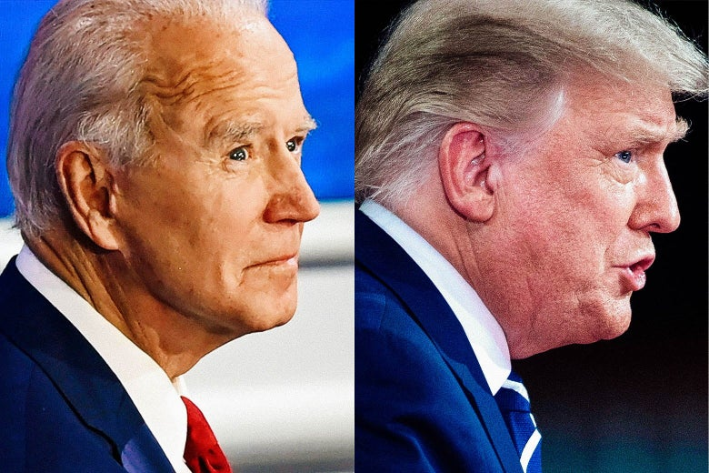 Side profiles of Biden, left, and Trump, right