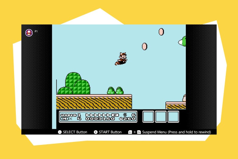 Mario flies toward coins using the raccoon suit.