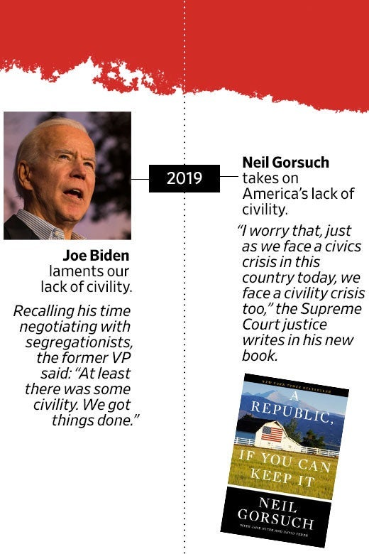 "In 2019, Joe Biden laments our lack of civility. Recalling his time negotiating with segregationists, the former VP said: ""At least there was some civility. We got things done."" Neil Gorsuch also takes on America's lack of civility. ""I worry that, just as we face a civics crisis in this country today, we face a civility crisis too,"" the Supreme Court justice writes in his new book, A Republic, if You Can Keep It."