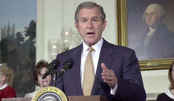 U.S. President George W. Bush announces his tax cut plan.