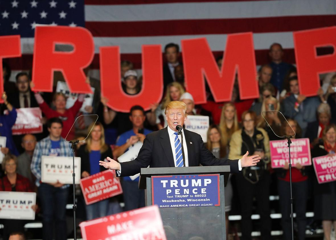Republican presidential nominee Donald Trump speaks at a rally.
