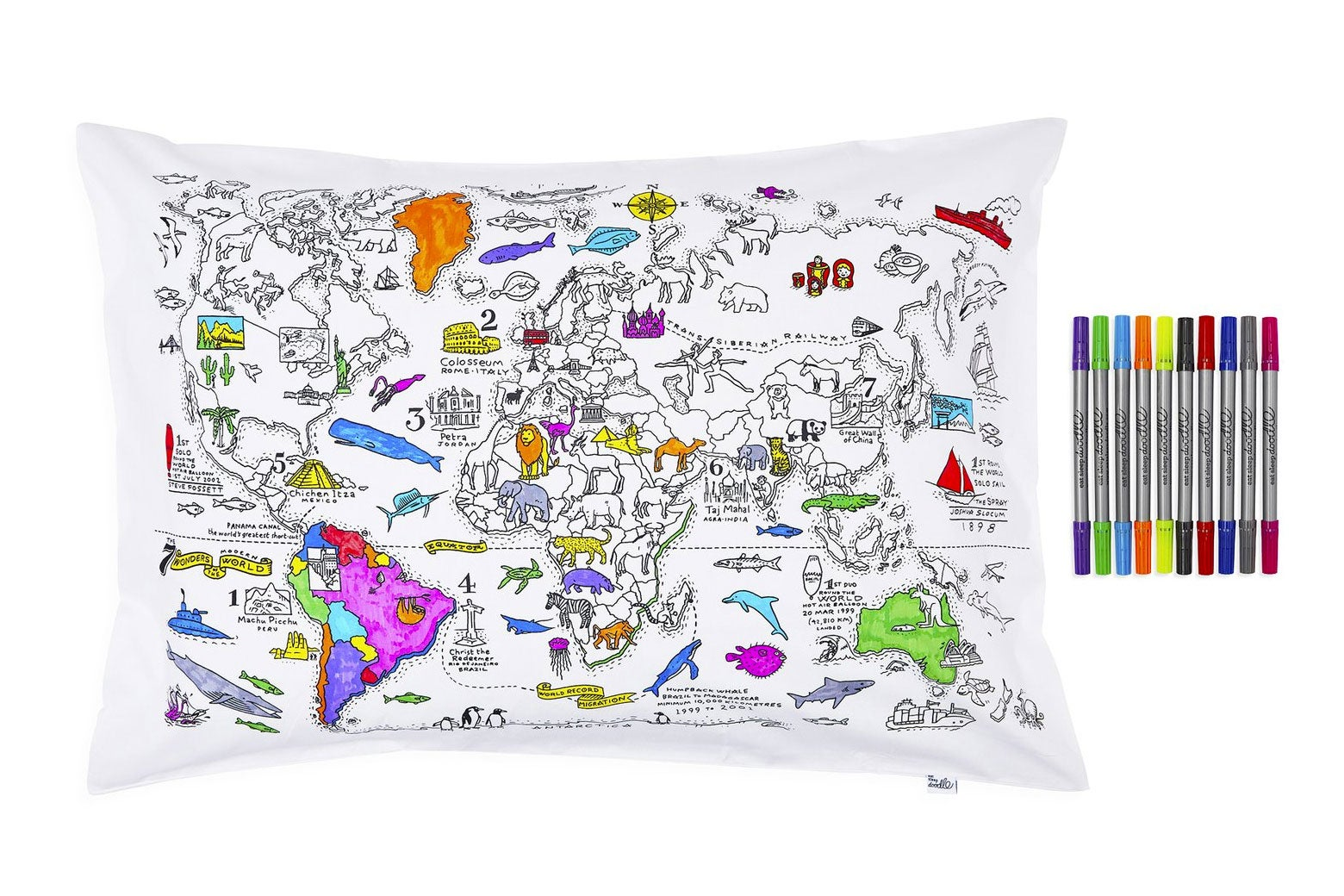 Eat, sleep, doodle, learn pillowcase.