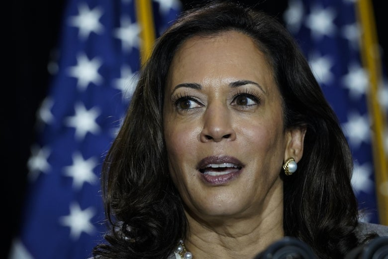 Sen. Kamala Harris, seen close up.