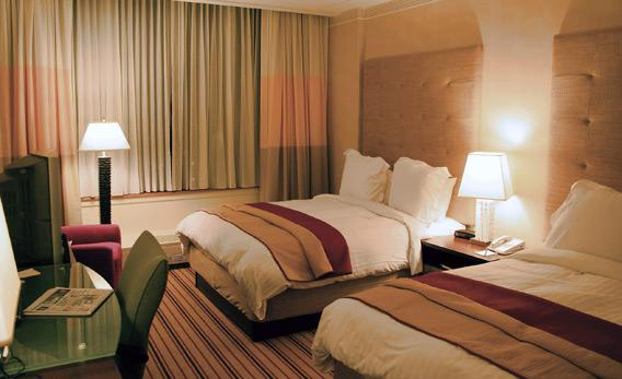 Hotel room of the Renaissance Hotel in Columbus, Ohio.