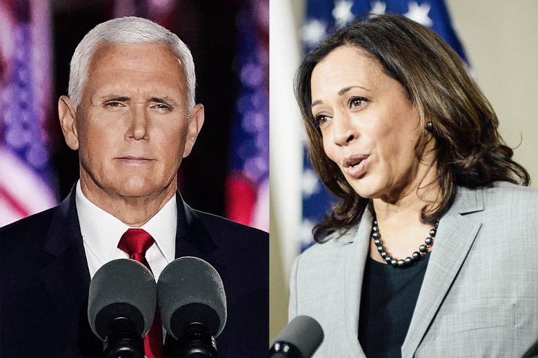 Side-by-side photos of Pence and Harris speaking into microphones