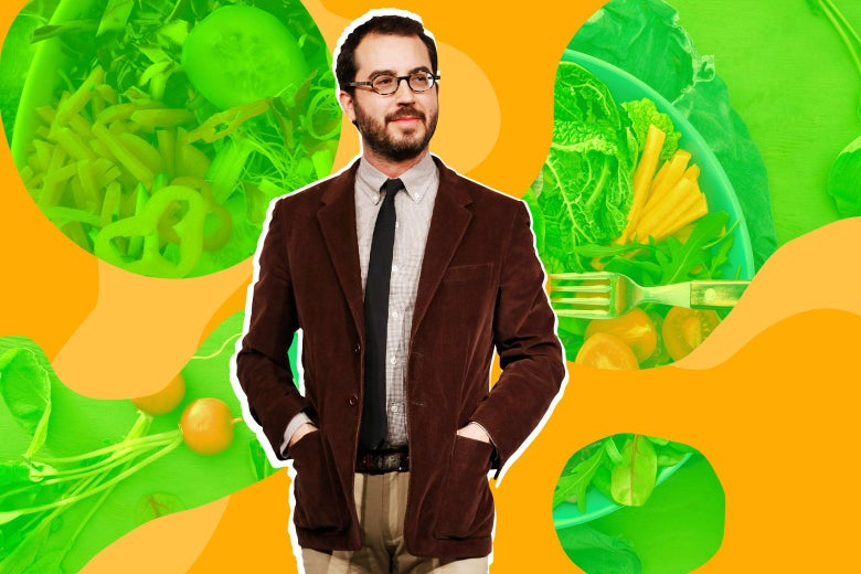 Photo illustration of Jonathan Safran Foer with a background of vegan food
