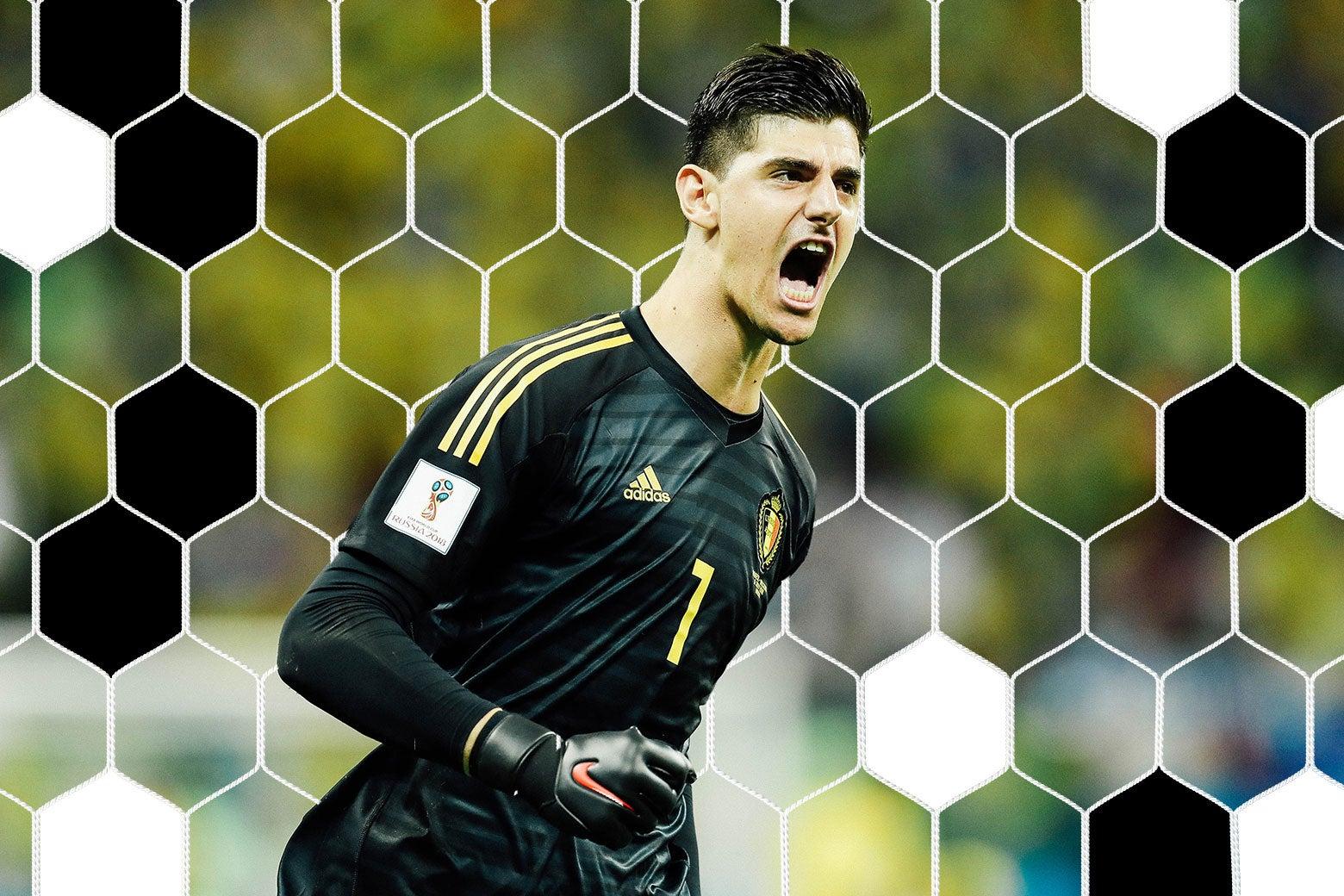 Thibaut Courtois of Belgium celebrates.