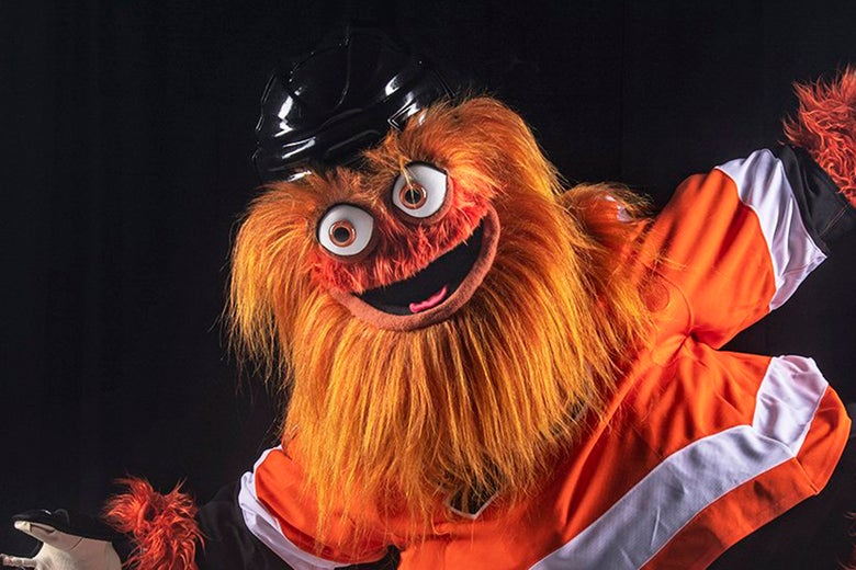 The googly-eyed new mascot of the Philadelphia Flyers.