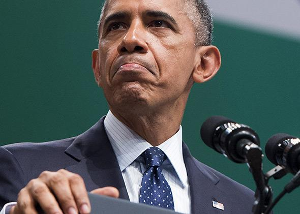 President Barack Obama speaks during a town hall event at Siri Fort Auditorium in New Delhi, India, on Jan. 27, 2015