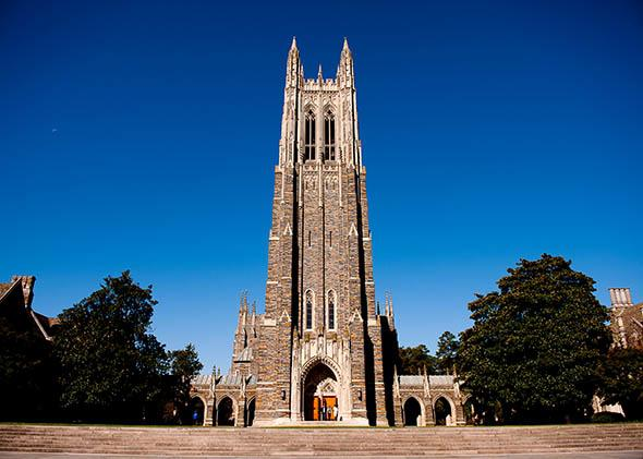 A general view of the Duke University Chapel on campus of Duke University.