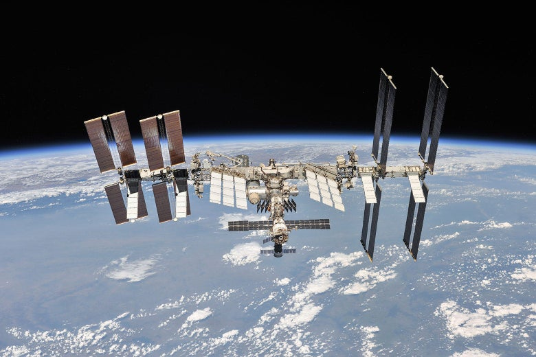 An exterior shot of the International Space Station.