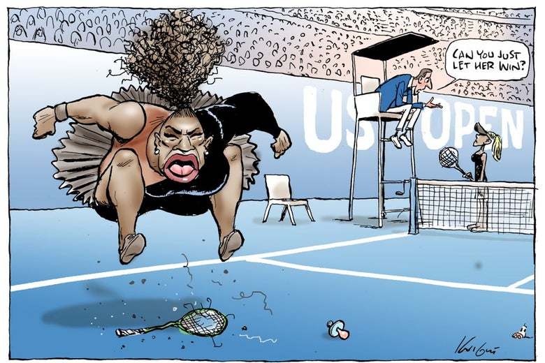 A cartoon of Serena Williams jumping onto her smashed racket