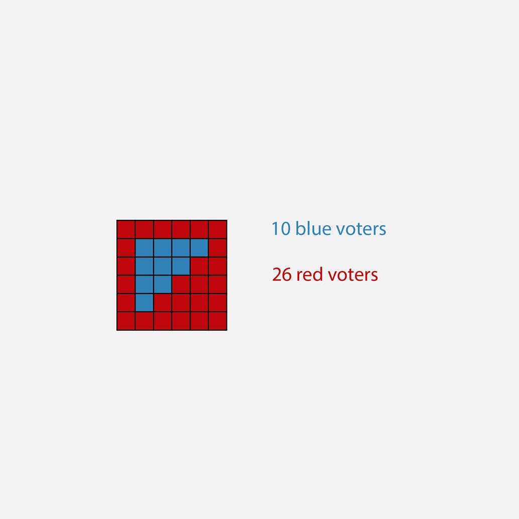 A grid with 10 blue votes and 26 red votes.