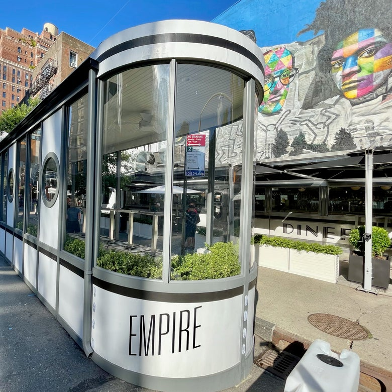 A curbside dining shed at the Empire Diner in Manhattan.