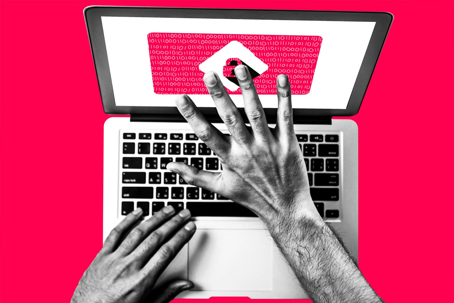 Photo illustration: Person panicked at their computer screen being locked by a virus. Photo illustration by Slate. Photos by Thinkstock.