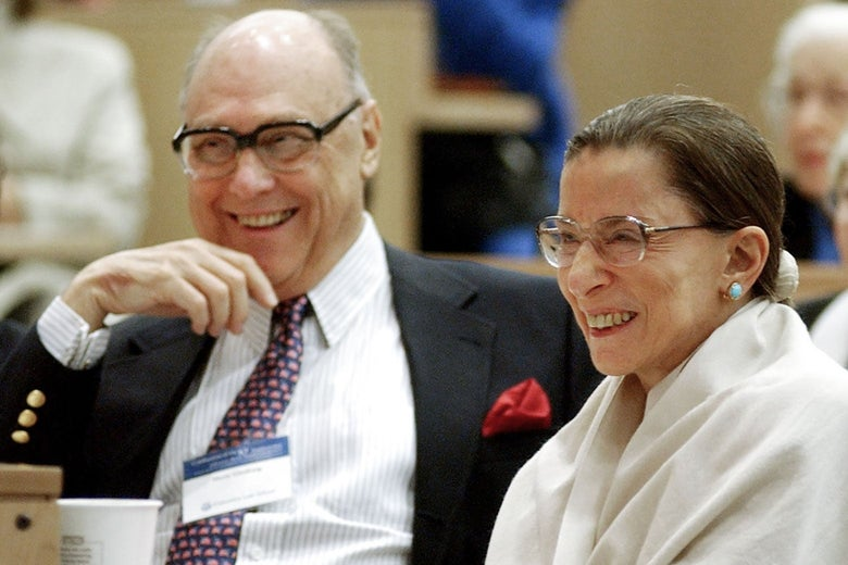 Ruth Bader Ginsburg and her husband laughing.