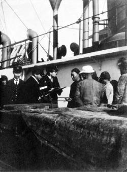 On board the S.S. Elford at Portland, Oregon, John B. Sawyer, 3rd from left.