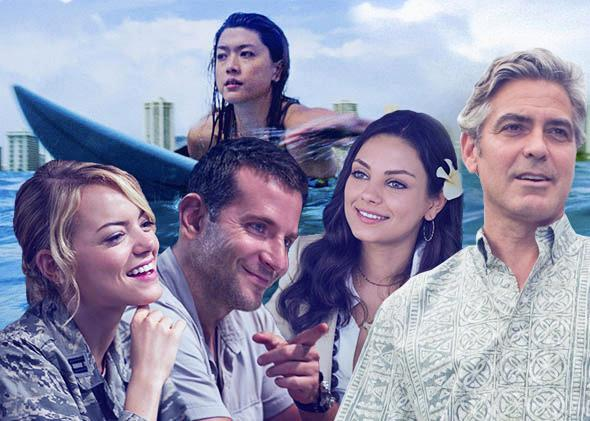 Hawaii in hollywood: Emma Stone and Bradley Cooper in Aloha, Grace Park in Hawaii Five-0, Mila Kunis in Forgetting Sarah Marshall, and George Clooney in The Descendants.