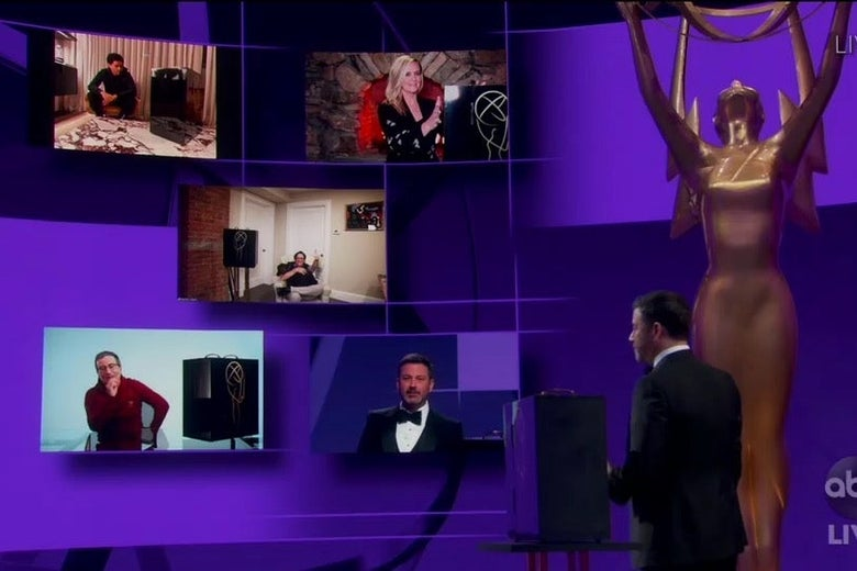 Host Jimmy Kimmel addresses video conference windows containing the nominees for Outstanding Variety Talk Series in this still from the Emmys.
